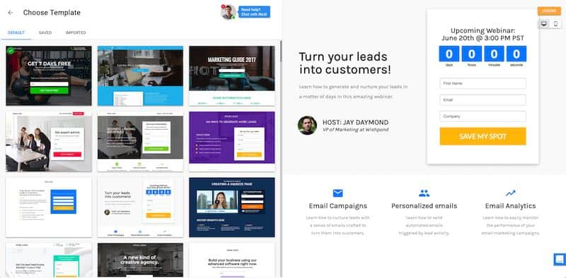 Wishpond Landing Page Templates